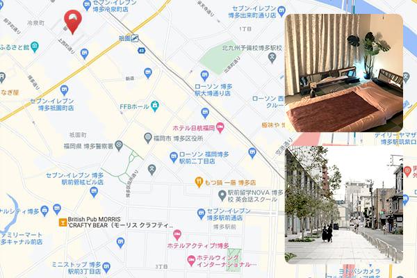 祇園駅から徒歩約3分程度 GION1.1の近くです。